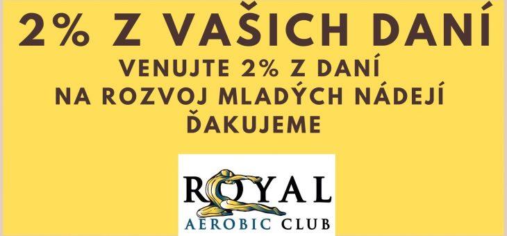 Venujte 2% z vašej dane za rok 2020 pre mladé nádeje ROYAL aerobic clubu